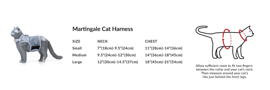 Cat harness size chart